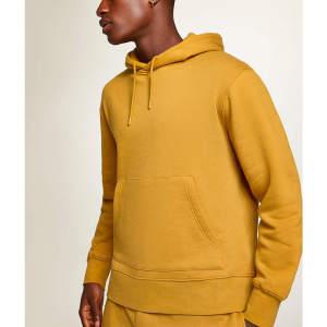 Wholesale mens cotton mustard overhead plain hoodie sweatshirts