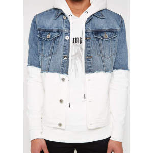 Wholesale mens fashion cotton contrast blue danim jackets