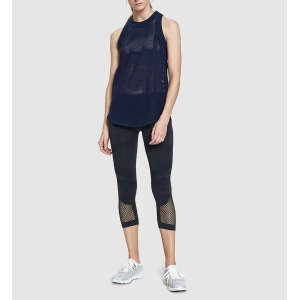 Wholesale womens fitted cotton sports wear gym mesh vest