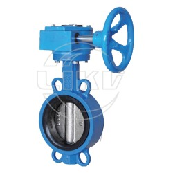 Wafer butterfly valve with gear