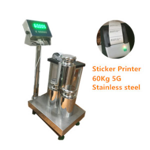 WF3040-6005 60Kg/5g high accuracy  STAINLESS STEEL bench weighing scale with sticker printer