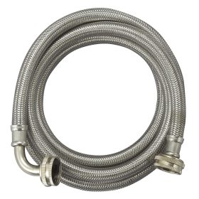 Flexible stainless steel braided washing machine inlet hose with 90 degree elbow