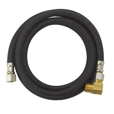 Flexible black nylon braided dishwasher hose
