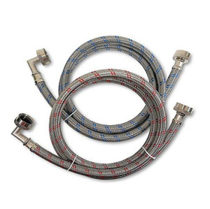 Flexible red and blue striped stainless steel braided washing machine hose with 90 degree elbow