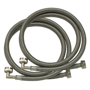Flexible PVC coated stainless steel braided washing machine hose with 90 degree elbow