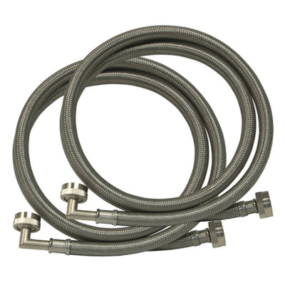 Flexible PVC coated stainless steel washing machine hose with elbow