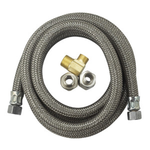 Flexible metal wire braided dishwasher inlet hose