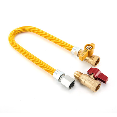 Yellow coated flexible hose for gas cooker CAS approved