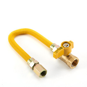 Flexible gas line hose CSA approved yellow coated gas connector