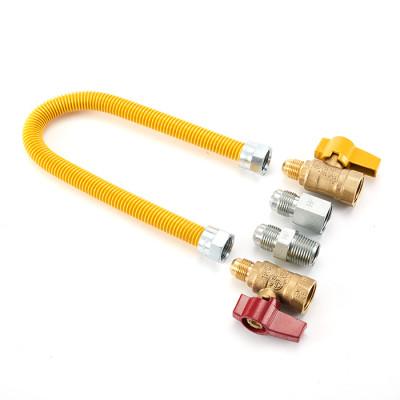 Flexible metallic gas hose yellow Epoxy coated gas line connector