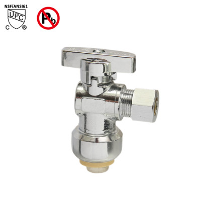 1/2 inch  Push fit × 1/4 inch OD Chrome Brass Angle Stop Valve Water Shut Off Ball Valve Lead Free