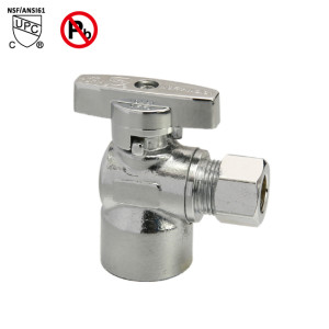 1/2-inch FIP × 1/2-inch O.D. Chrome Plated Brass Quarter Turn Angle Valve
