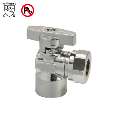 1/2-inch FIP × 1/2-inch OD or 7/16 Slip joint supply stop valve Chrome Plated