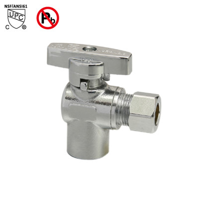 1/2-inch Sweat × 3/8-inch OD Push Fit Angle Stop Valve
