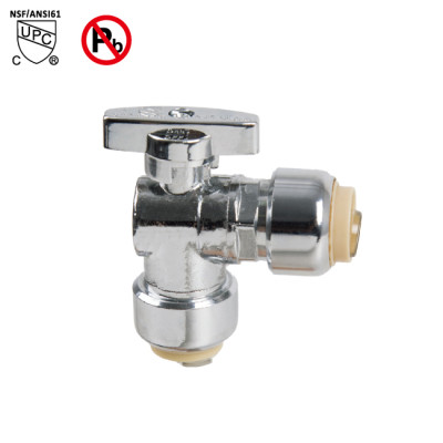 1/2-inch Push Fit ×1/2-inch Push Fit Brass Angle Stop Valve