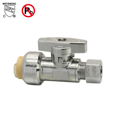 1/2-inch Push Fit ×3/8-inch OD Straight Brass Supply stop valve Line Valve