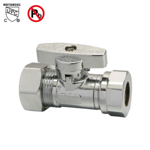 5/8-inch OD×1/2-inch OD or 7/16 Slip Joint Water Shut Off Straight Stop Valve