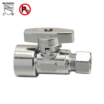 3/8-inch FIP × 3/8-inch OD Lead Free Straight Stop Valve For Water Shut Off