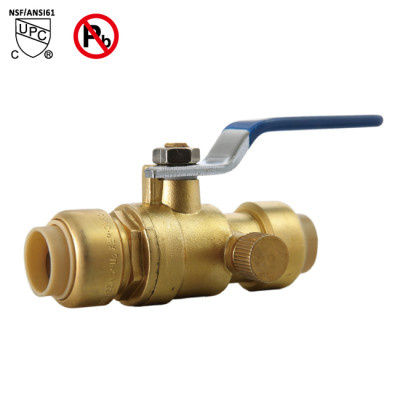 1/2 Inch ×1/2 Inch Push Fit Ball Valve With Drain Full Port 1/4 Turn