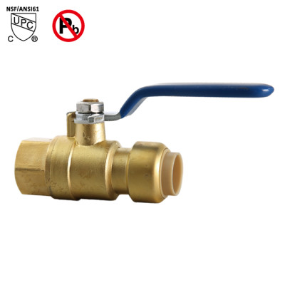 1/2 Inch PUSH FIT×1/2 Inch FNPT Ball Valve Push to Connect brass