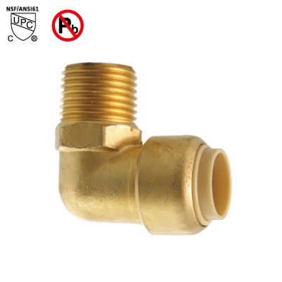 1/2 Inch Push Fit × 1/2 Inch MNPT Elbow Male Pipe Fittings Push to Connect