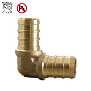1-1/2 Inch PEX ×1-1/2 Inch 90 Degree Elbow PEX Barb Fitting Brass