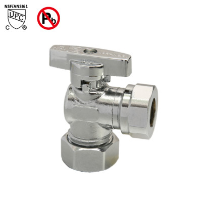 5/8inch OD × 1/2inch OD or 7/16 Slip Joint Lead Free Quarter Turn Angle Valve