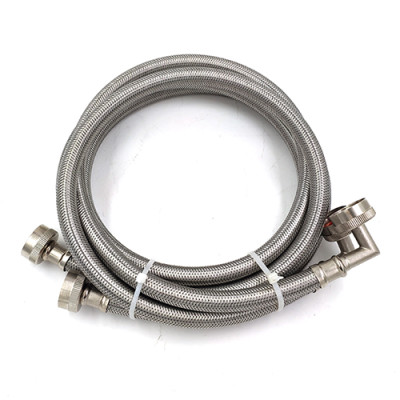 Flexible stainless steel washing machine water inlet hose with 90 degree elbow