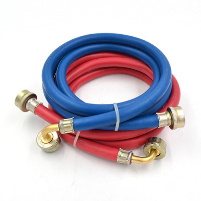 Rubber washing machine hose with 90 degree elbow