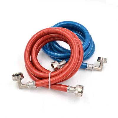 Flexible color coated stainless steel braided washing machine hose with elbow
