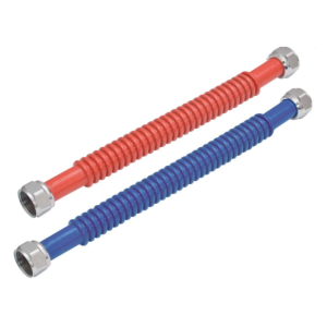 3/4 Inch FIP×3/4 Inch FIP Stainless Steel Corrugated Water Heater Connectors Red and Blue Pair