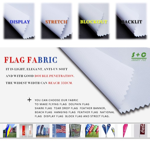 Dye sub flag fabric JYQC-K1 with double penetration and excellent stability