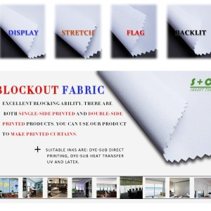 Dye sub blockout fabric JYBO-102 middle layer black yarns