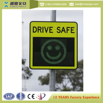 High Intensity LED Display Solar Radar Speed Limit sign with smile and cry face