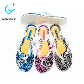 Crystal  lady print nice women slippers PVC flip flops
