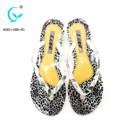Crystal  lady print nice women slippers PVC flip flops