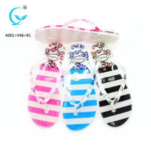 Crystal promo 2016 latest ladies printed flat shoe flip flops in bangkok
