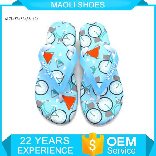 Latest design customized fashion sandal printing slipper woman shoes