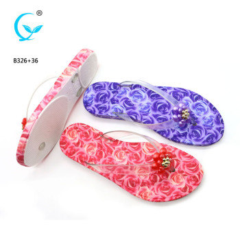 Transparent strap casual women sublimated hard rubber flip flops