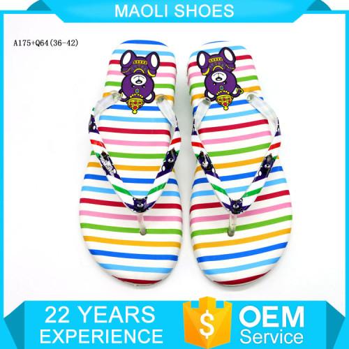 Colorful stripe flip-flops for girl