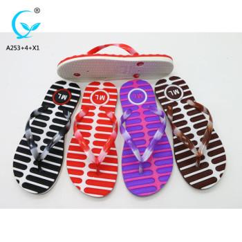 Pcu and pvc flip flop slipper withown logo eva sole design print slipper