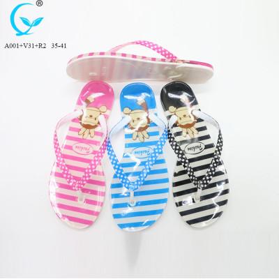 Lady slim floral unisex straps slide flat flip flop sandal slipper