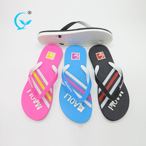 Slide in flip flops embossing design pcu slippers for women 2017