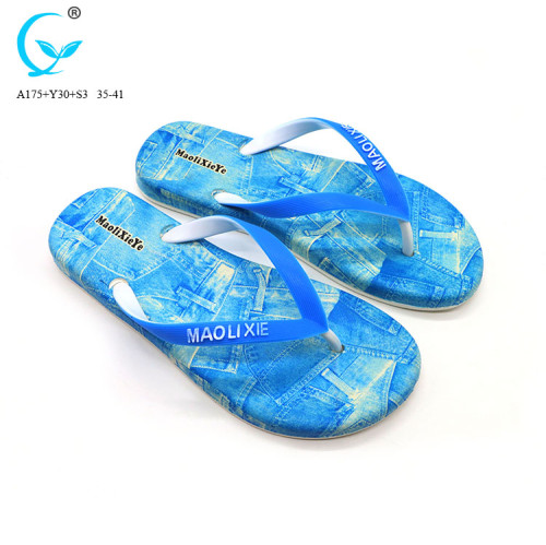 Replaceable strap pvc soft beach slippers for women with flowers