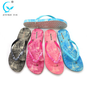 Custom branded pool beach chaussures women flowers slippers pvc