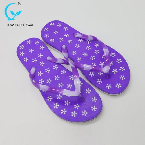 Beach breathable print cheap  jieyang top sale fancy agra ladies chappal women sandals slippers eva wedge flip flops