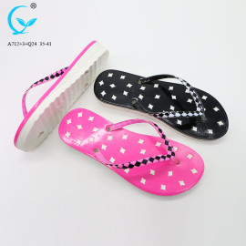 Ladies flat footwear summer slippers comfort flip flops personalized