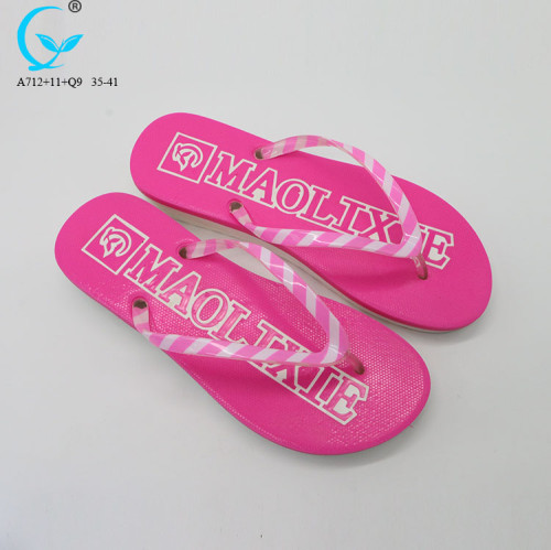 Crystal strap double color flip-flop women beach slippers with print