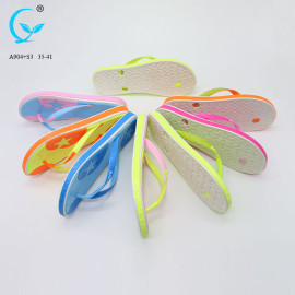 Wholesale bangkok women footwear pvc gold wedge shoe rubber slippers pvc straps