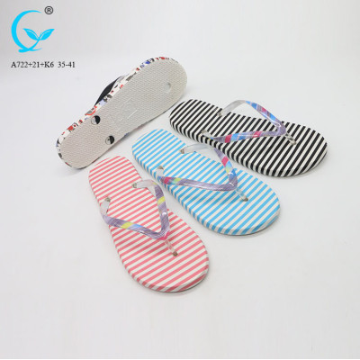 Fancy light weight beach eva slide ladies flat sandals wuchuan slippers 2018